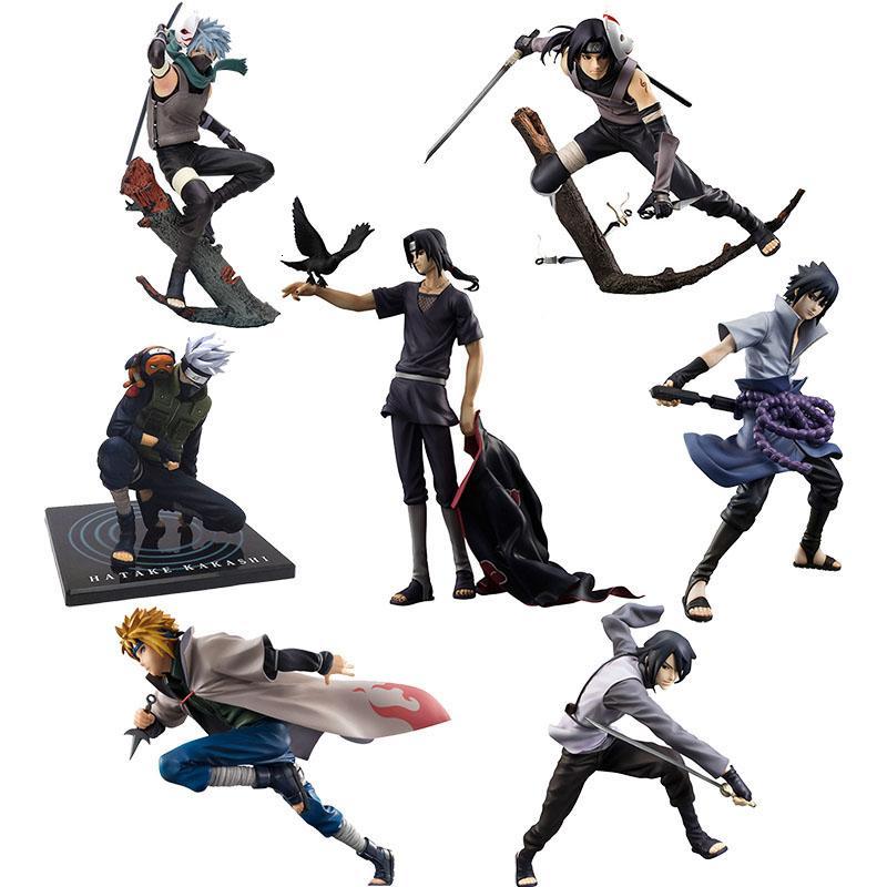 NARUTO Shippuden escuro Uchiha Itachi Kakashi Namikaze Minato Uchiha Sasuke Figura Toy Anime Modelo Toy Naruto boneca 15-27cm T190925