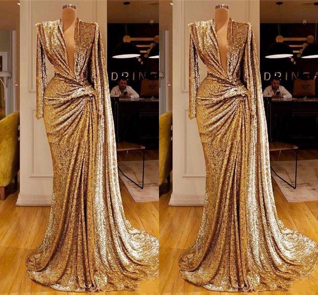 Elegante Sparkly paillettes oro dei vestiti da sera della sirena 2020 profondo scollo a V pieghe lunghe maniche Prom abiti drappeggiati Dubai arabo abito del partito