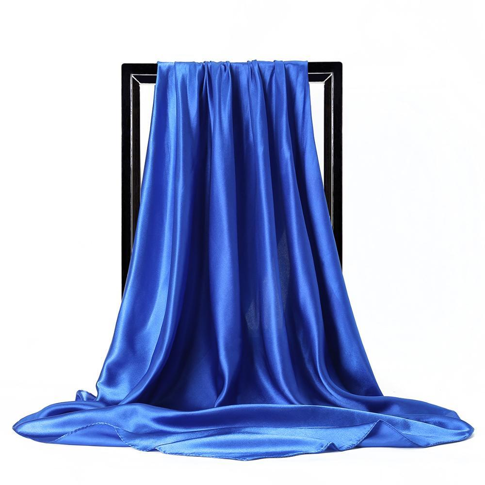 Verão Mulheres Lenço de seda cor sólida Foulard cetim principal quadrado Lenços Mulheres Xailes Designer de Luxo 90 * 90 centímetros Bandana Grande Hijab