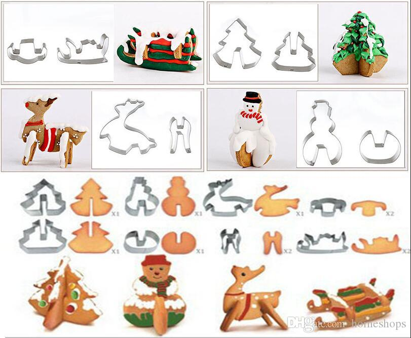 8pcs/set 3D Stainless Steel Gingerbread House Christmas Cake Cookie Cutters Set Biscuit Mold Fondant Cutter Baking Tool