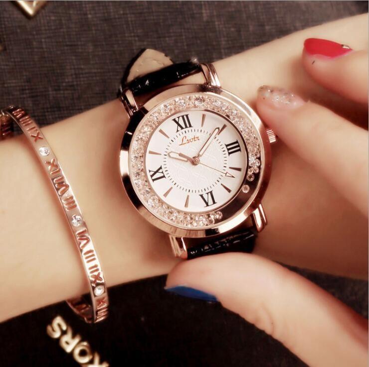 LSVTR бренд элегантные женские Наручные часы женщины браслет круглый кожаный Кристалл римские наручные часы платье дамы кварцевые часы