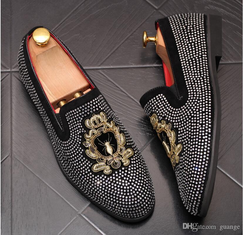 Los zapatos de plataforma que conduce los zapatos del vestido del diseñador 2019 hombres Brillantes de zapatos casual para hombre de Nueva planos de la manera de los hombres de los holgazanes de los hombres de lentejuelas 339