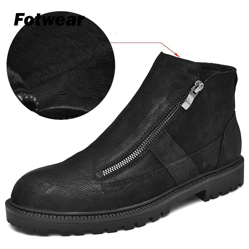 Fotwear Men Full Grain Leather Boot Men Work Black Shoes Winter Plush Boot With Zip Soft Microfleece Lining For Added Warmth MX190819
