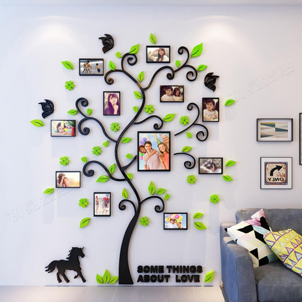 Wholesale 1 Set Size S DIY 3D Acrylic Green Family Tree Wall Stickers with Photo Frame Wall Decal Home Decor