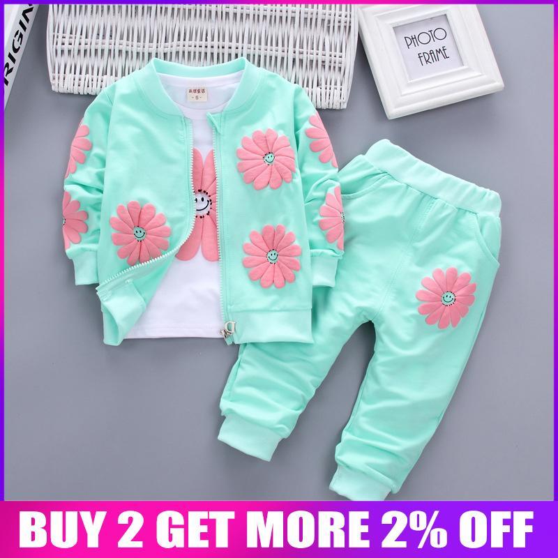 Bibicola Bebek Kız Giyim Seti Çocuk Kız Çocuklar Için Eşofman Rahat Spor Takım Elbise Bahar Sonbahar Kız Giyim Seti Y190529