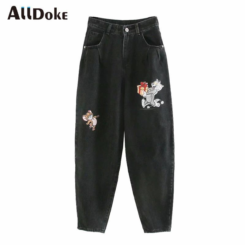 ALLDOKE pantalon denim imprimé noir dessin animé occasionnels femmes été poches taille haute jean boyfriend vintage ladies sarouel femme