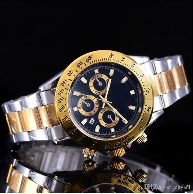 Logo Großhandel heißen Verkauf Luxus Herrenuhr Mode schwarzes Zifferblatt Kalender Gold-Armband Faltschließe Meister Male Geschenke Relógio masculino