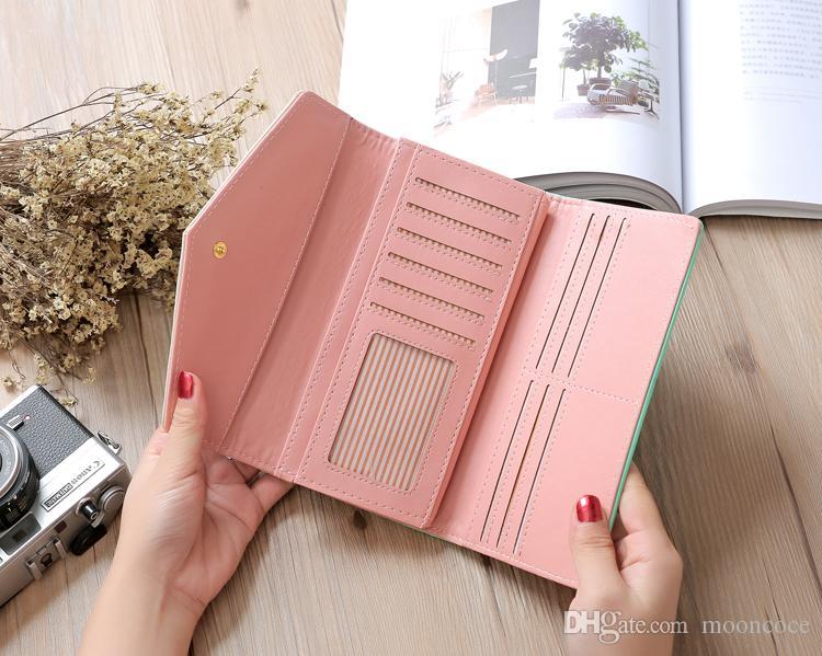 Marke brieftasche weiblichen pu-leder brieftasche freizeit geldbörse rot stil 3fold top qualität frauen brieftaschen lange geldbörse kartenhalter carteras