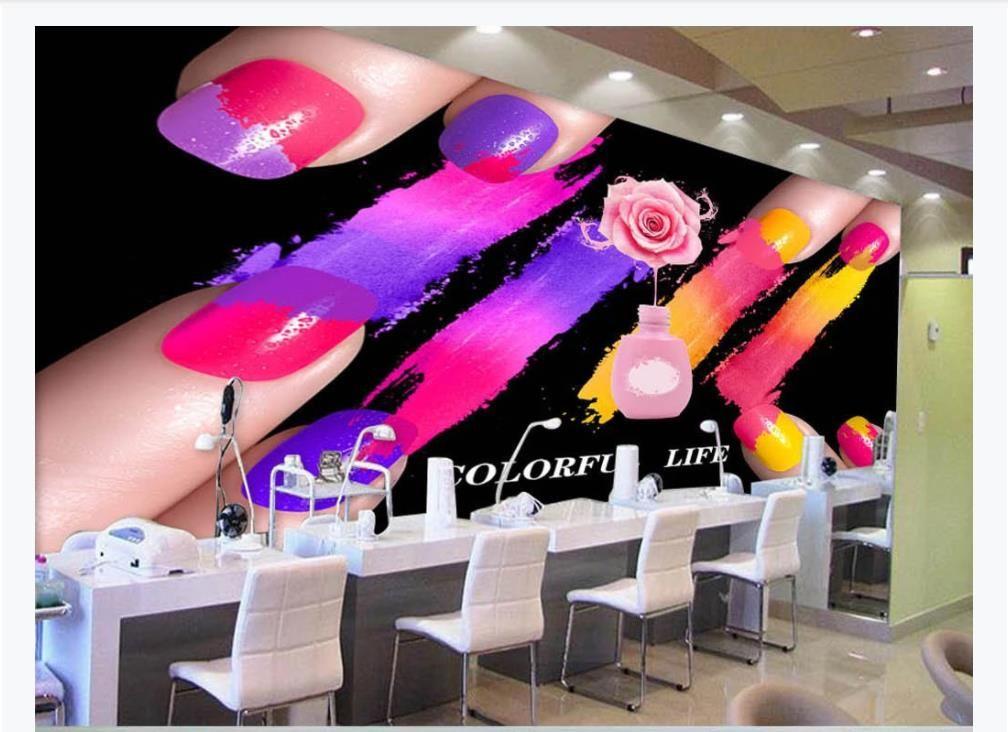 Moderne Art und Weise kreative 3D Nagellack Aquarell Graffiti Wandwandpapier Beauty-Salon Make-up Nagel-Shop Hintergrund Wand-Dekor