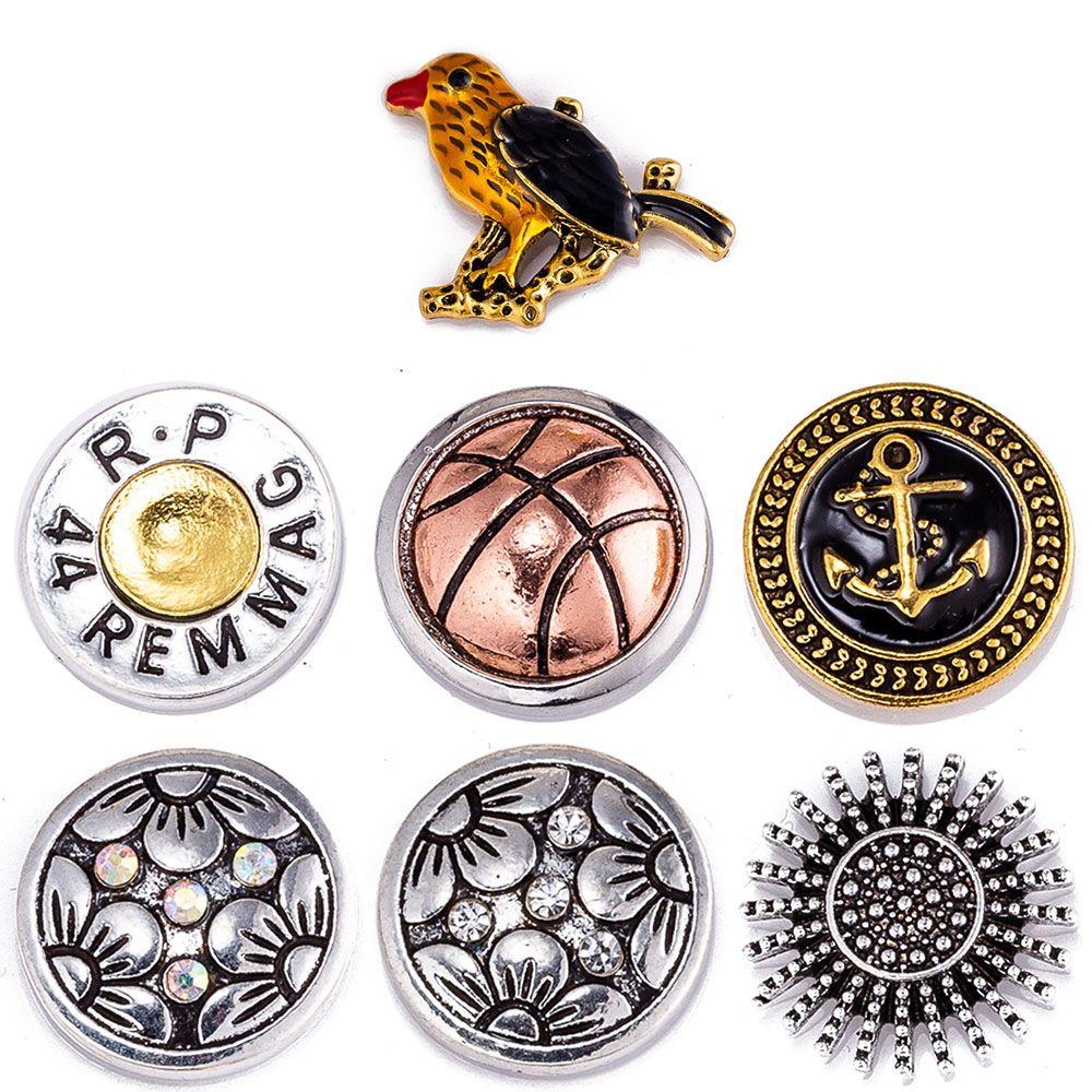 20PCS التقط زر 18 ملم يستقر BIRD معدنية ليستقر أساور تناسب الزنجبيل مبكرة المجوهرات الكريستال
