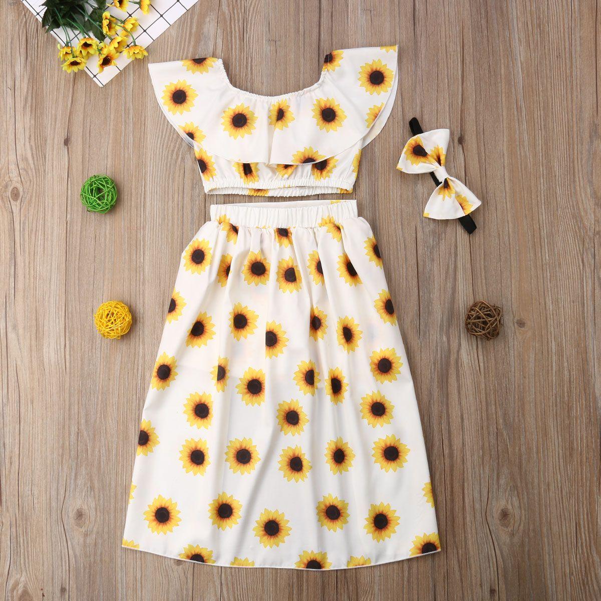 3pcs Kleinkind-Kind-Baby-Kleidung-Blument-shirt übersteigt kurze Rock-Ausstattungen