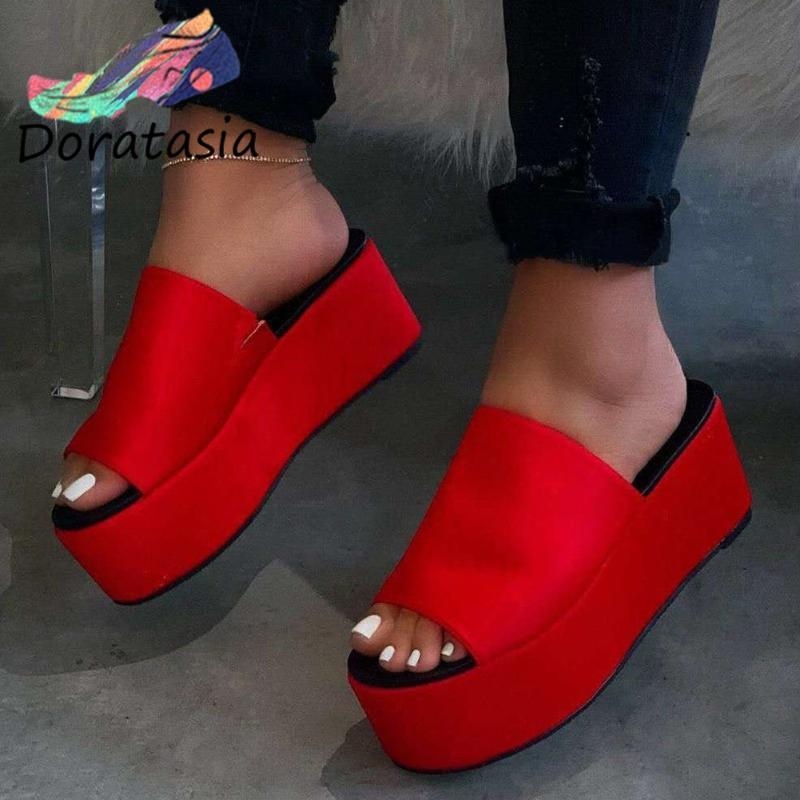 DORATASIA New Arrival Women Platform Slip On Leopard Casual Party Sexy Shoes Outdoor Slippers Women Summer Slippers