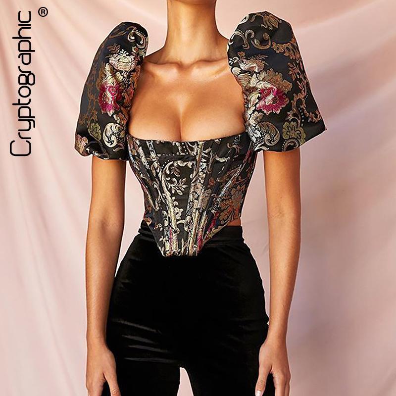 Cryptographic-Quadrat-Kragen Strapless Crop Tops Shirt mit Puffärmeln gestickter Sexy Backless Shirts Blusen-Frauen-Reißverschluss-elegante
