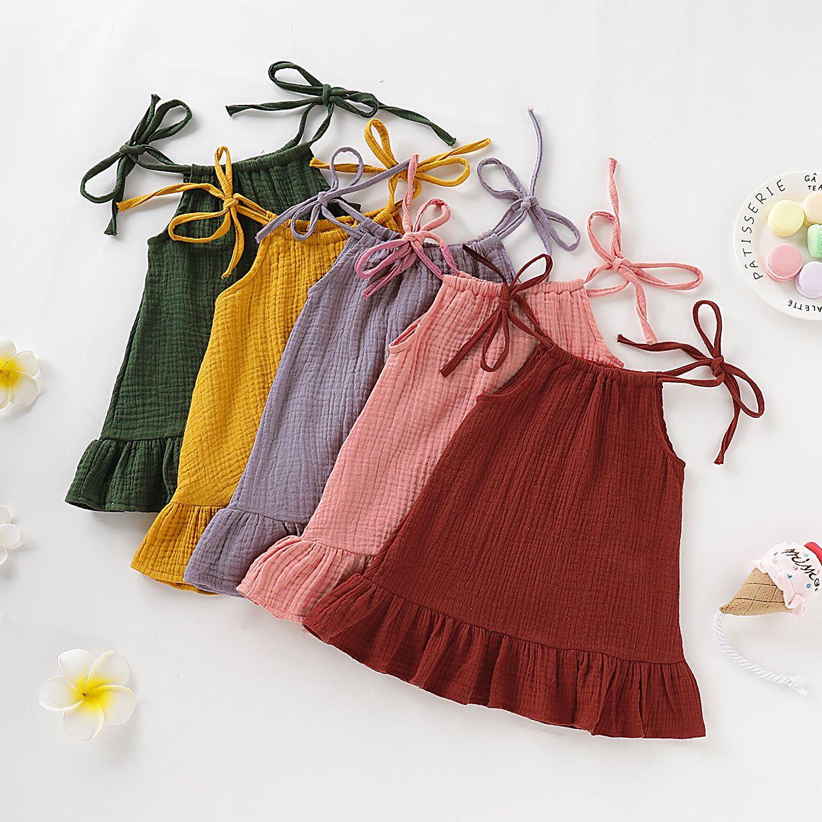 Kız bebekler Sling Katı Renk fırfır Elbise Yenidoğan Bebek Pamuk Keten Elbiseler 2020 Yaz Moda Butik Çocuk Tasarımcı Giyim M1503