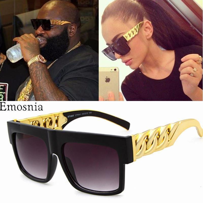 سلسلة النظارات الشمسية موضة الذهب المعادن ساحة نظارات شمسية المشاهير مصمم العلامة التجارية المرأة / الرجل ظلال UV400