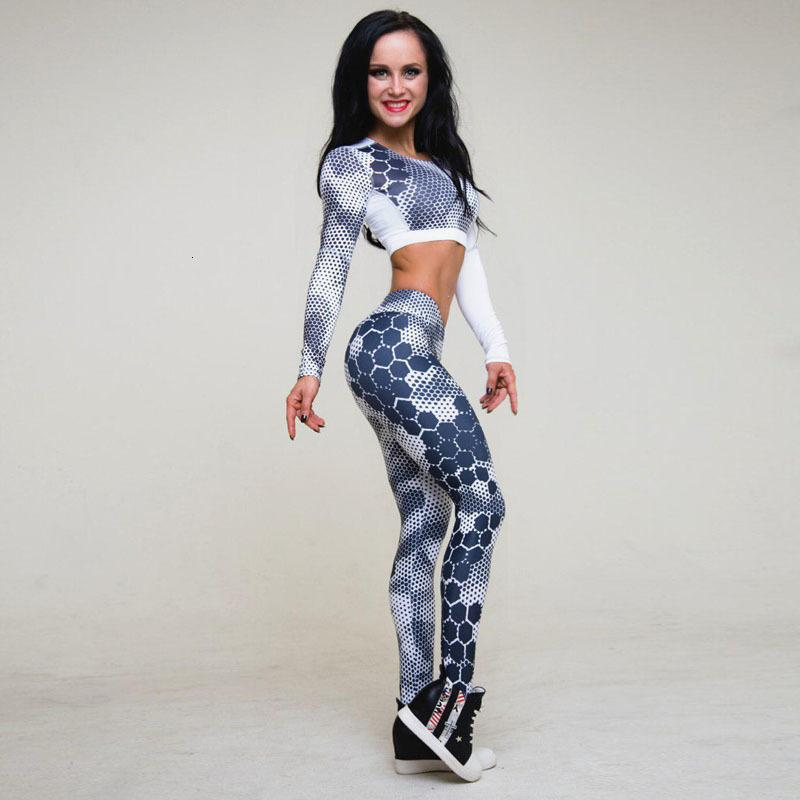 Womens New Fitness Suit Sets Sexy Dot Printed Tracksuit Long Sleeve Crop Top And Slim Leggings Two Piece Set