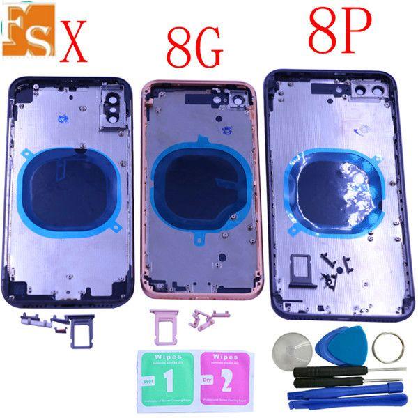 آيفون 8 8 زائد الغطاء المعدني الخلفي البطارية بالكامل الإسكان للحصول على اي فون 8G 8P إطار الباب الخلفي حالة البطارية أزرار مع بطاقة سيم