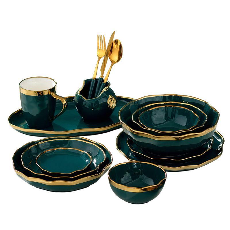 Vintage Green Ceramic Tableware Gold Rim Dinnerware Handmade Wavy Shaped Steak Plate Dinner Plates Dishes Salad Bowls Coffee Mug