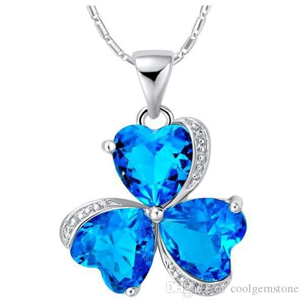 Luckyshine 12Pcs/lot sterling silver 925 Necklaces Unique charm Sparkling Swiss Blue Topaz Pendant Necklaces For Lady Free And Fast Shipping