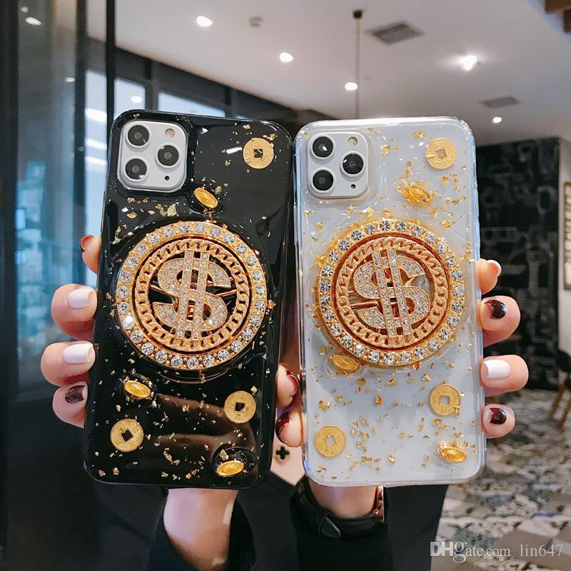 Popular luxury desinger gold coin phone cases for iphone x xs xr max 11pro tpu soft black transparent back cover for iphone7 8plus 6s