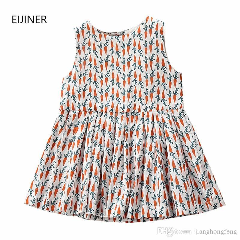 muchachas de la ropa de los niños del vestido del verano de 2020 nuevos niños de la marea lindo vestido sin mangas flojo de impresión niñas princesa del vestido de rábano