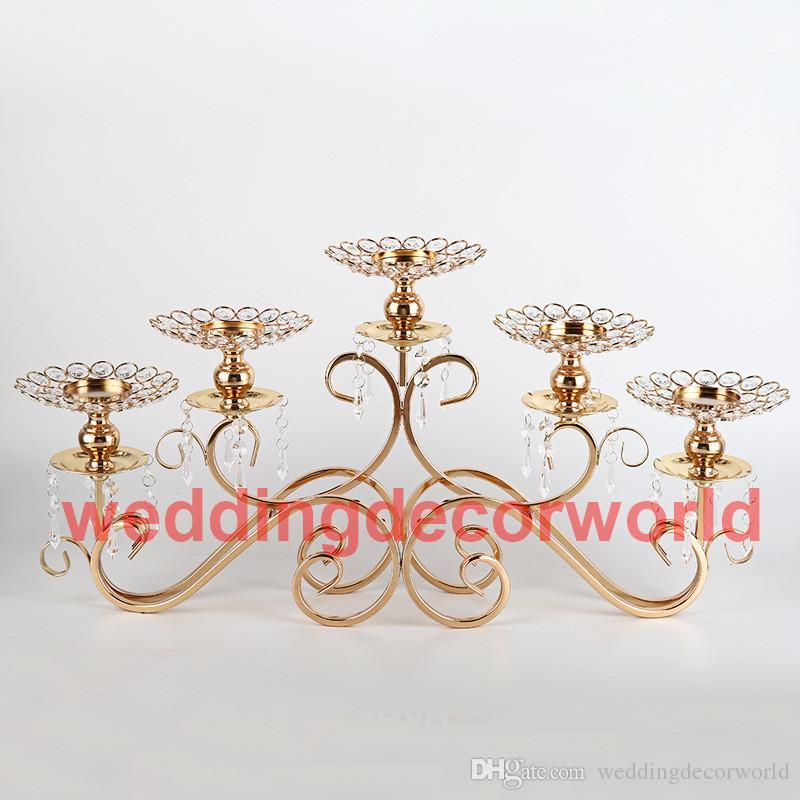 Candelabros Candelabros para Candelabros de la boda de Cristal de Oro al por mayor Decoración de la Casa Mesa Decorativa Centro de mesa decor00025