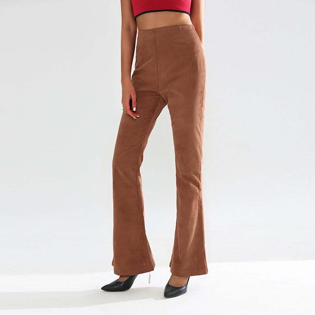 Feitong harajuku calças mulheres Corduroy Skinny Flare Retro Cintura Alta Sino Fundo Calças de Calças de Estiramento das mulheres plus size calça caqui