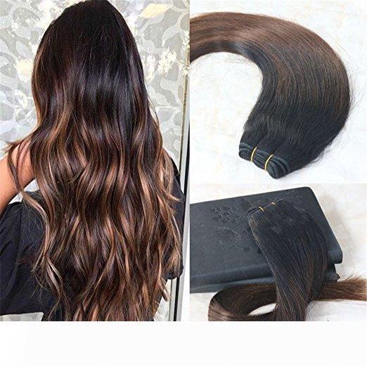 Menschenhaar-Verlängerungen Balayage Farbe Natur Schwarz Ombre Schokoladen Braun Echt Menschliches Haar Doppel-einschlag Balayage Haarbündel