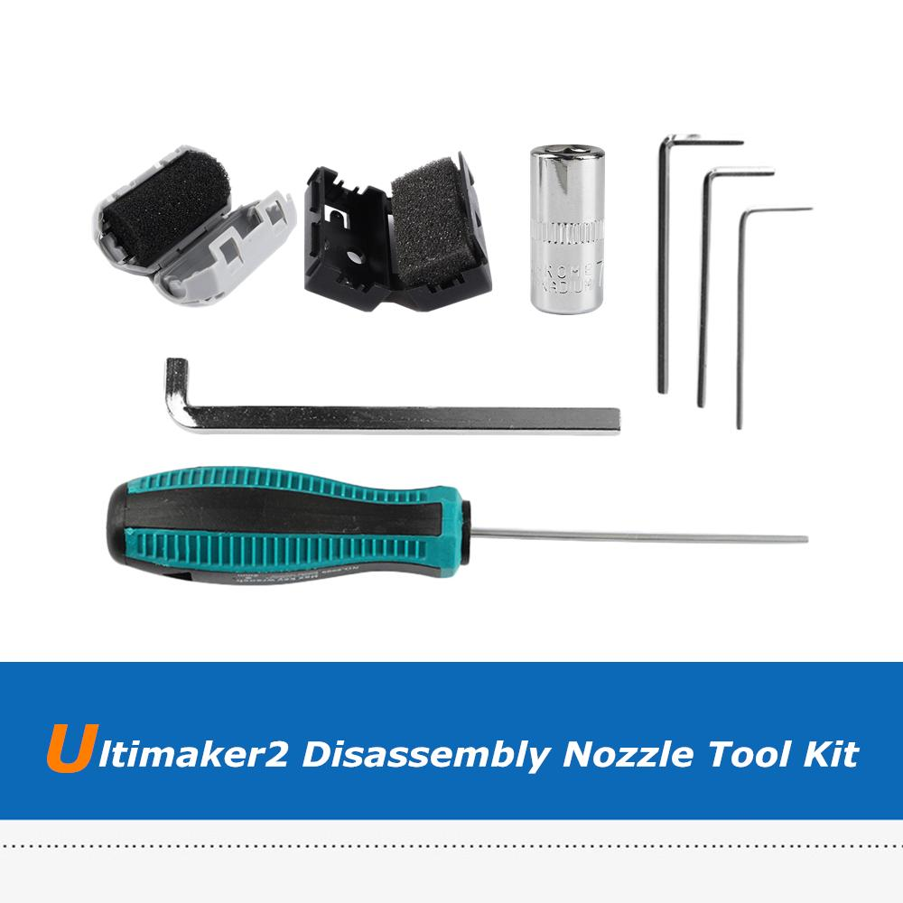 Ultimaker2 UM2+ 3D Printer Parts Hex Key Disassembly Nozzle Sleeve Supplies +3mm Filament Cleaner Tool Set