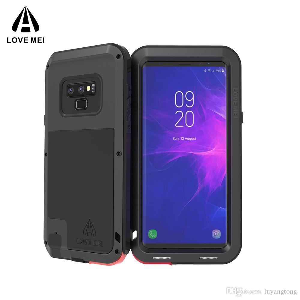 Note9 amour Mei Coque robuste Housse de protection pour Samsung Galaxy Note 9 cas avec couvercle en métal puissant GalaxyNote 9 Phone Cases