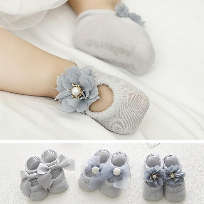3 Pairs Newborn Toddler Baby Girl Cotton Soft Frilly Anti-Slip Socks Ankle Shoes