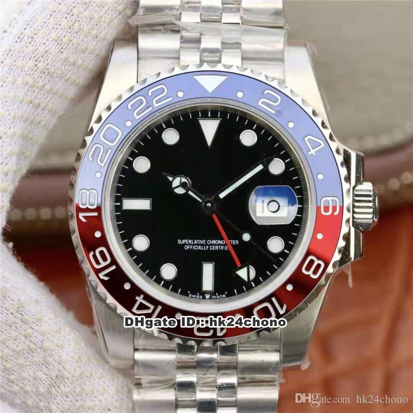EW Лучшие часы GMT II Пепси ETA2836 28800VPH Autoamtic Мужские часы 126710 керамический ободок черный циферблат из нержавеющей стали ремешок Мужские наручные часы