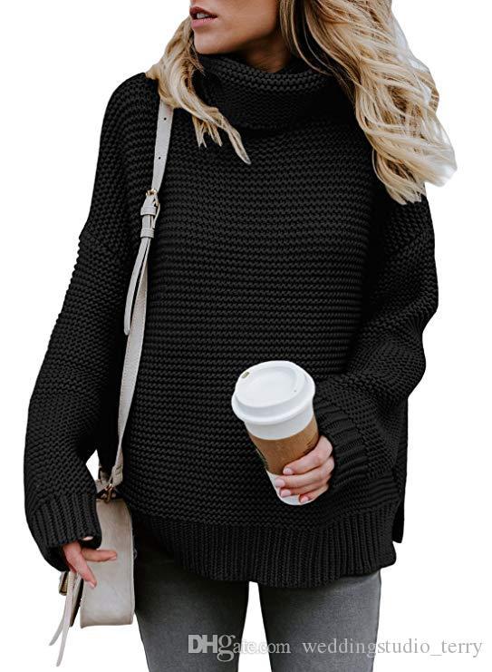 여자 터틀넥 긴 소매 땅딸막 한 니트 풀오버 사이즈 스웨터 터틀넥 느슨한 풀오버 탑스