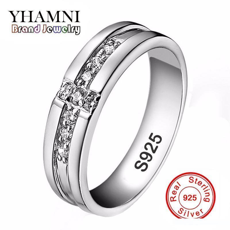 YHAMNI Real Pure Silver Cross Кольца Set CZ Алмазный обручальные кольца для любителей Пара 925 серебро Обручальные кольца для женщин и мужчин D11