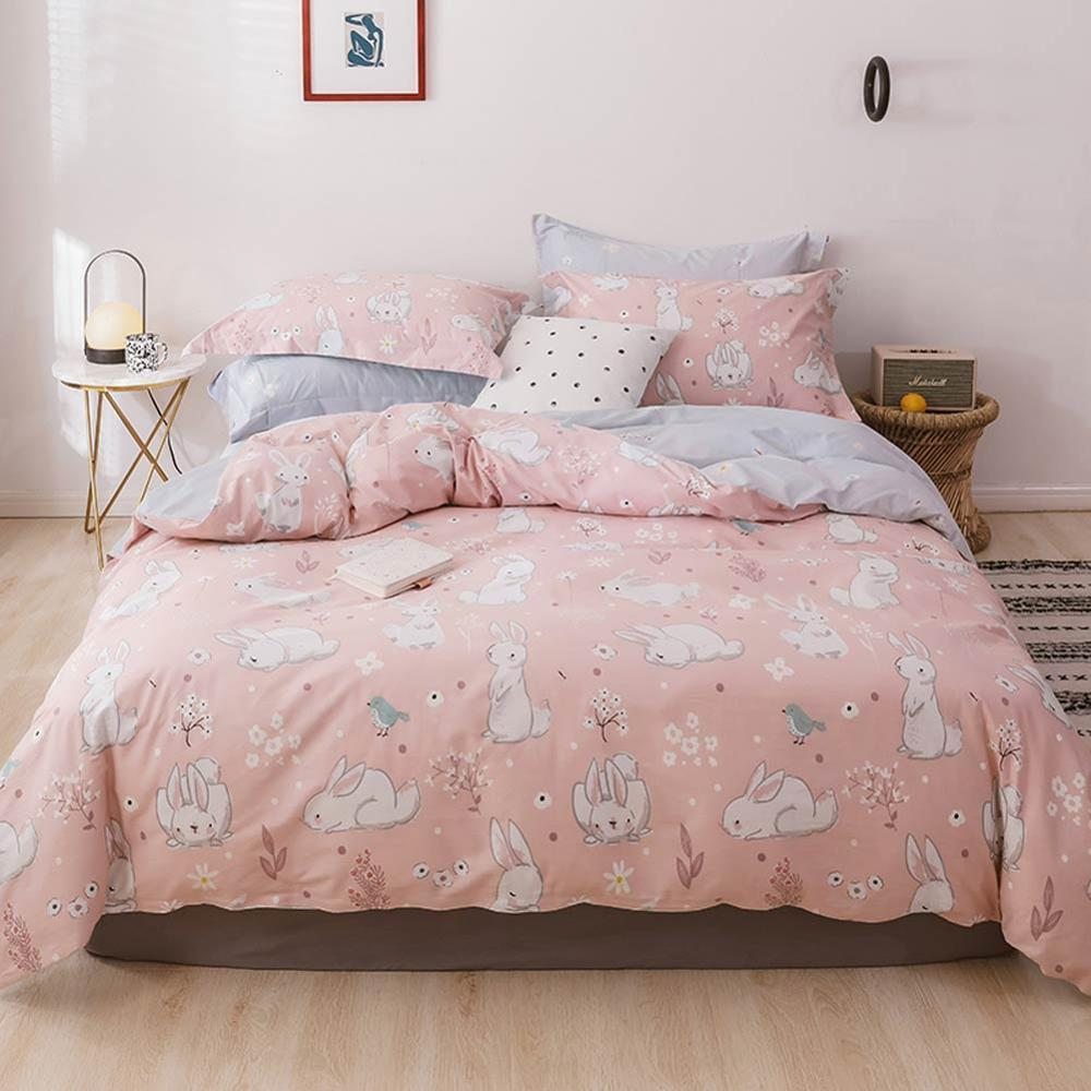 White Bunny Rabbit Pink Duvet Cover Set Cotton Bedlinens Twin Queen King Flat Sheet Fitted Sheet Bedding T200414 Unique Duvet Covers Boy Bedding From Xue10 39 52 Dhgate Com