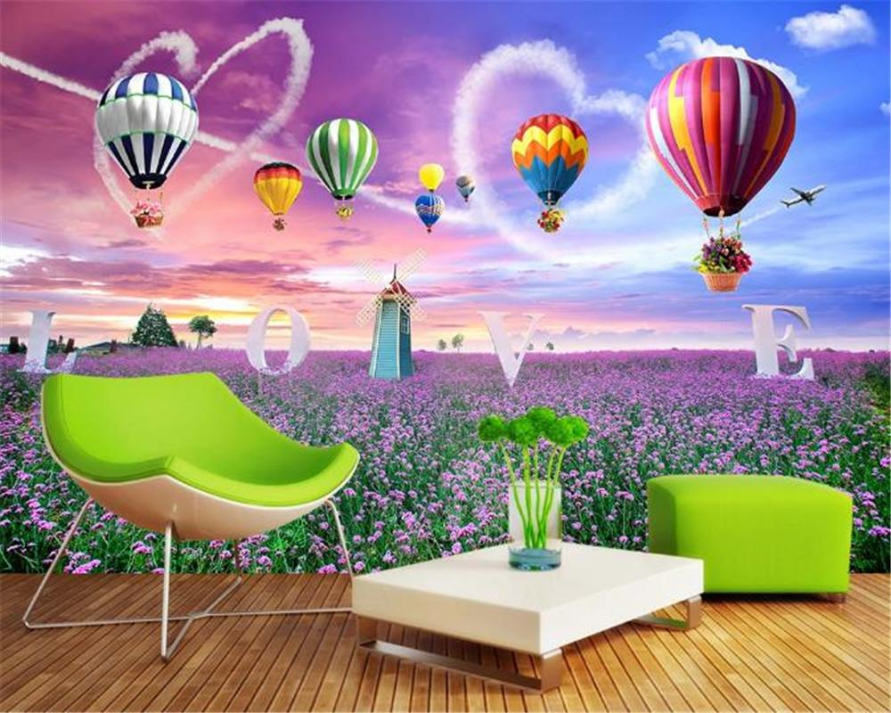 3d Bedroom Wallpaper Windmill Hot Air Balloon Romantic Lavender