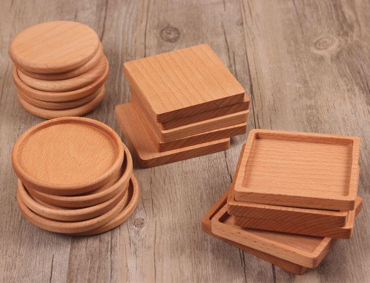 4 protections de tasse de thé de café de verres de tasse de thé de café en bois solides isolés de tapis de théière de tapis de théière W9234