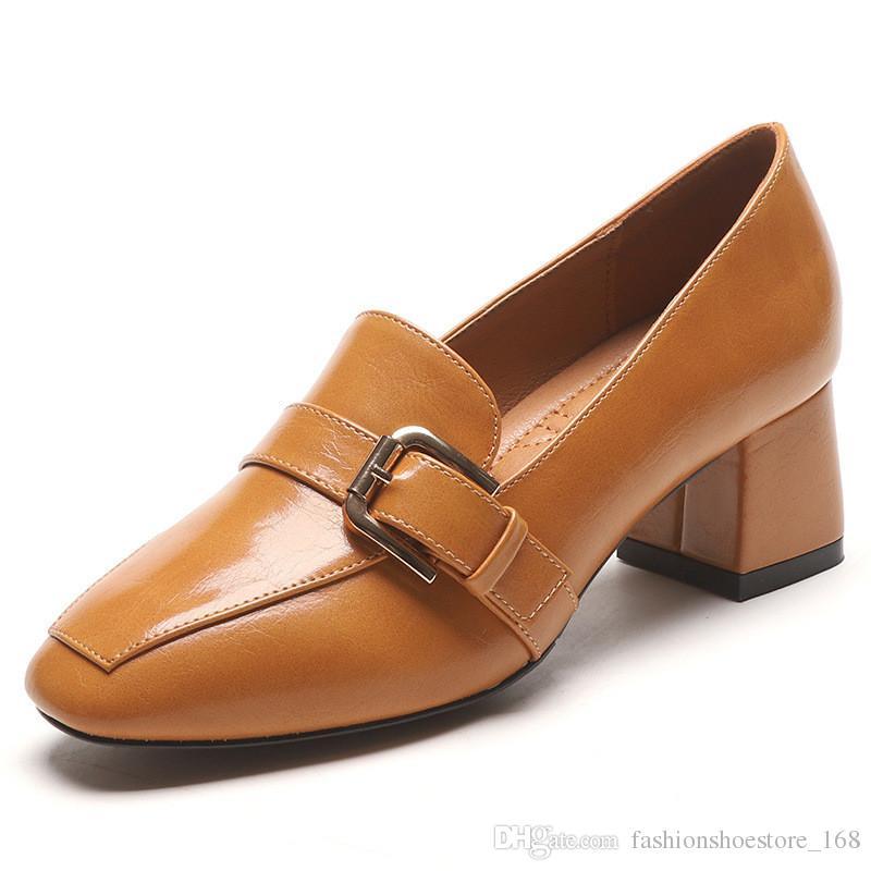 Vintage Square Block Heels PU Leather Shoes Women Pumps Platform 2019 Autumn Mid Heel Square Head Loafers Women Office Shoe