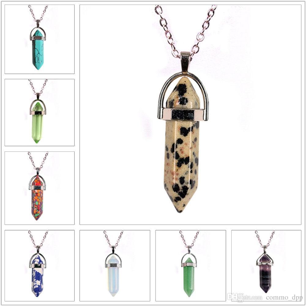 Guérison Cristal Quartz Point Bullet colliers Pour Femmes Hommes Prisme Hexagonal Pierre Naturelle Pendentif Chaîne Bijoux De Mode en Vrac