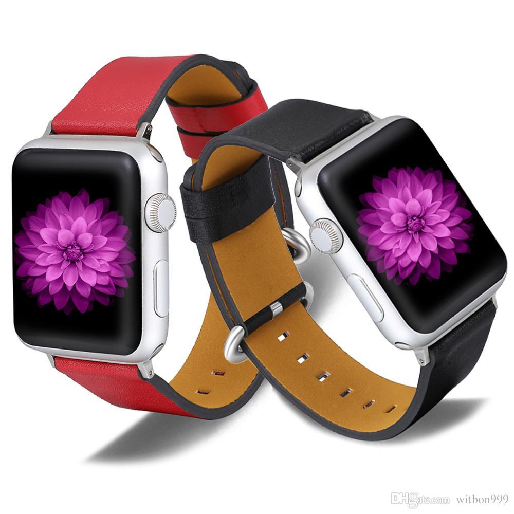 애플 iwatch 밴드 시리즈 3 42mm의 38mm 무료 배송 애플 시계 밴드 시리즈 4 40mm의 44mm 스포츠 스트랩을위한 새로운 가죽 스트랩