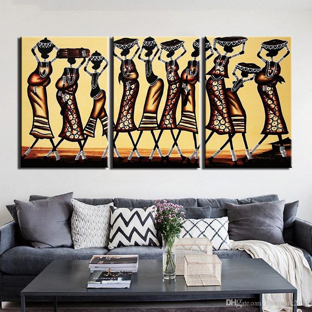 Three African Women Stylish Make Up Modern Art Painting Canvas Print Decorive Wa