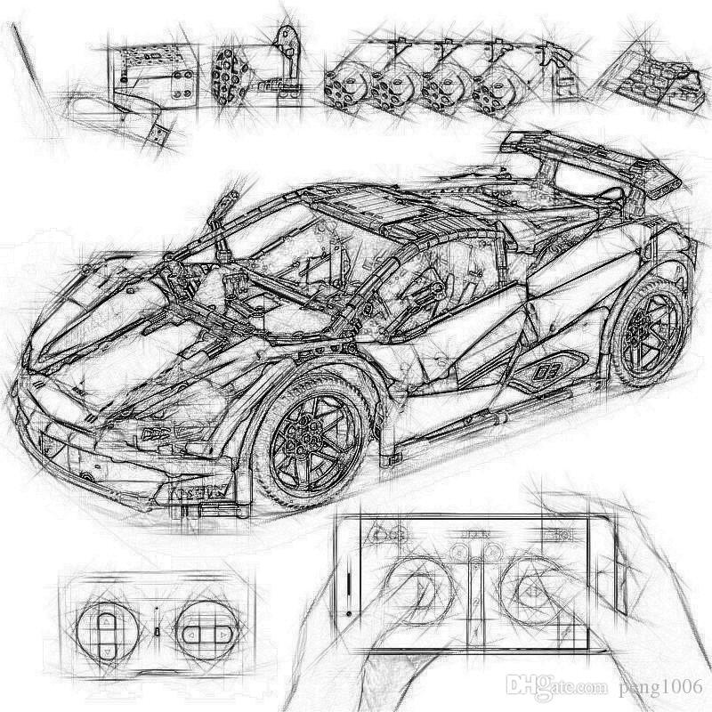 Плесень King 13067 APP RC Спортивных гоночного автомобиля Veneno Roadster Модель Set Technic MOC 3918 со светодиодной подсветкой моторостроительного Blocks детьми мальчик игрушкой