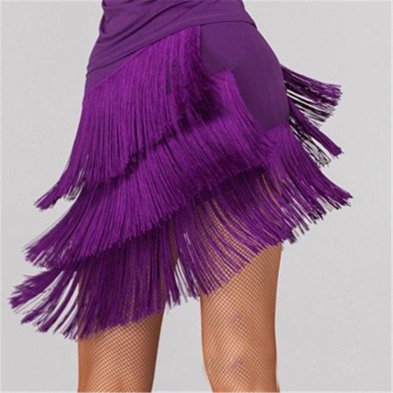 New Latin Dance Skirt Women Latin Tassel Skirt Three Layer Fringe Dance Short Skirts Female Dress XL XXL XXXL 4 Colors