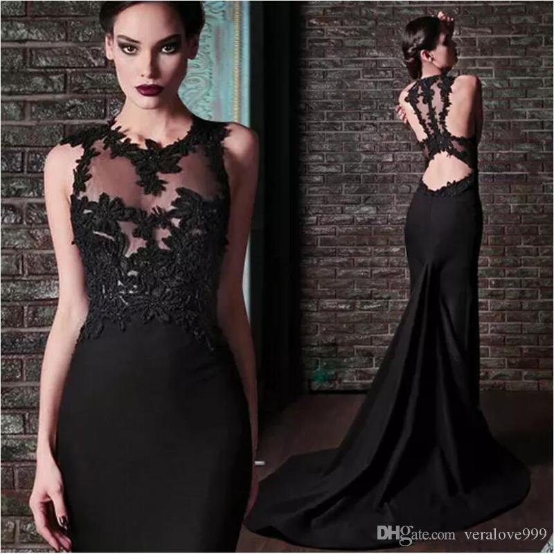 Rami Kadi Prom Dresses Mermaid Black Jewel Neck Bodice Lace Appliques Backless Court Train Evening Dresses Formal Wear