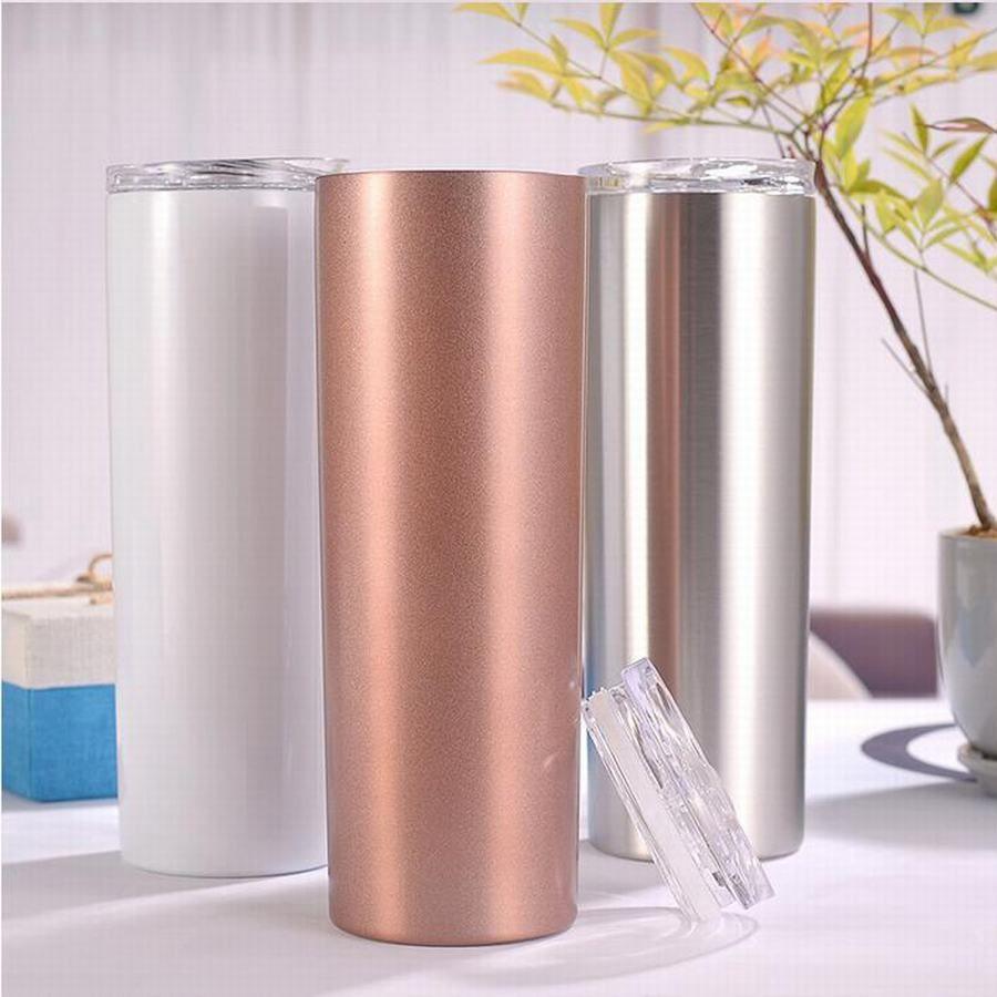 Toptan 600 ML 20 oz Paslanmaz Çelik Sıska Bardak Vakum Yalıtımlı Su Şişesi Düz Fincan Bira Kahve Kupa Gözlük Wth Kapaklar ve Payet