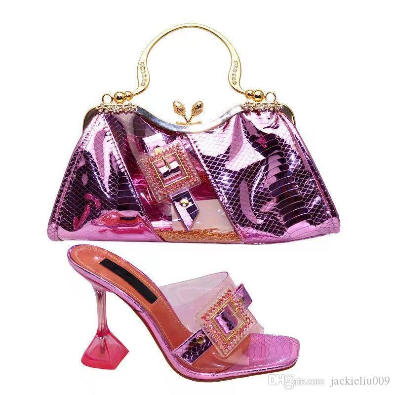 Most popular pink women dress shoes and bag with nice rhinestone decoration african pumps match handbag set V260-1,heel 12CM