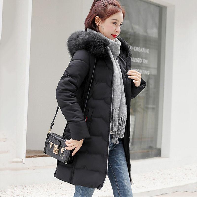 Plus Size Mulheres quente jaqueta de algodão novo inverno Parkas Casacos Womens longa coreano colar encapuçado da pele Cotton Overcoat 4XL F1071