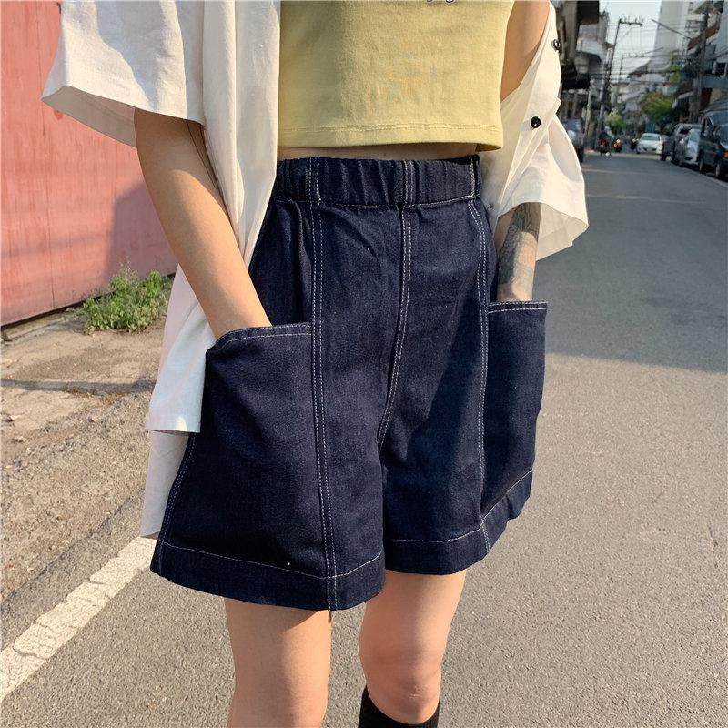 Высокая талия ковбой шорты Женщины Streetwear Упругие талии Sexy Denim 2020 новый летний Корея моды джинсы Свободные шорты T200603