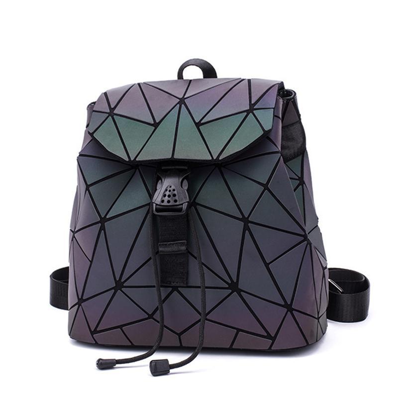 Designer- 2020 femmes lumineux Petit sac à dos géométrique Drawstring Backpack école pliant Sacs à dos Bao Hologram Femme