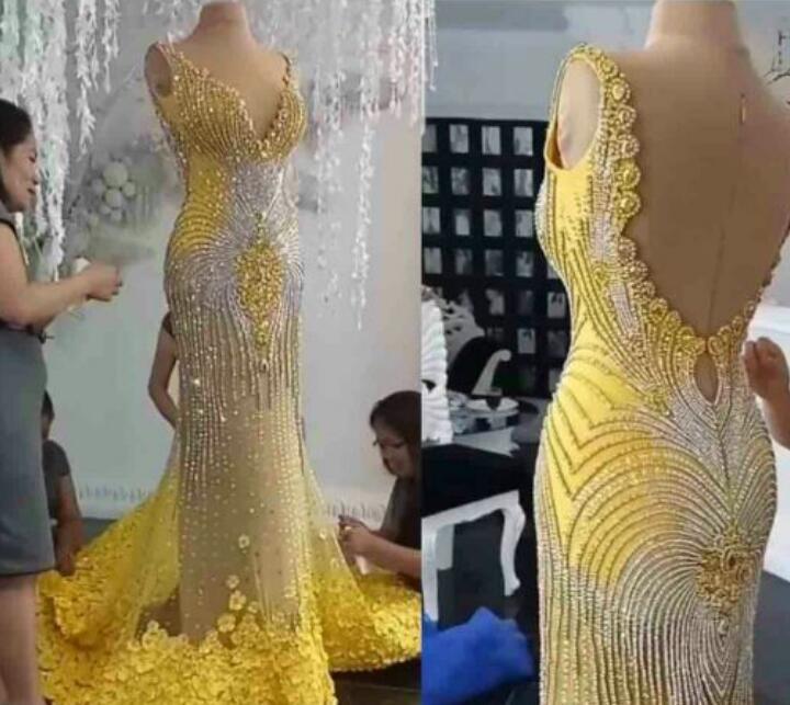 Вечернее платье Yousef Aljasmi Kim Kardashian V-образным вырезом русалка с плеча желтые аппликации без спинки кристаллы длинное платье Zuhair Murad Ziadnakad